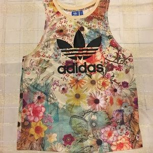 Adidas Floral Trefoil Mesh Top